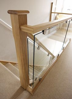 Oak and Glass Staircases - Neville Johnson Staircases This modern oak and glass staircase combine beautiful design with the finest materials and superb craftsmanship for a feature that will last for decades. House Staircase, Wood Staircase, Staircase Railings, Staircase Design, Banisters, Staircase Ideas, Staircases, Glass Bannister, Glass Stairs
