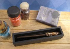 Harry Potter Inspired Wand and Wand Display Box in 1:12 Dollhouse Miniature scale, One of a Kind    LittleWooStudio on etsy