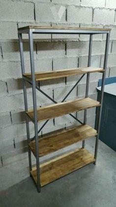 Biblioteca de 5 estantes en madera y hierro con ruedas for Vibbo barcelona muebles