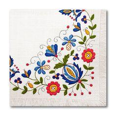 Trójwarstwowe serwetki papierowe folk z kolorowym nadrukiem ludowych wzorów.Paczka zawiera 20 szt.WYMIARY:wysokość: 33 cm,szrokość: 33 c...