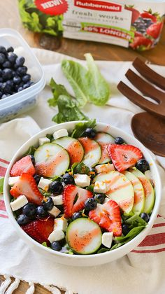 A light and refreshing leafy salad mix with sliced strawberries, cucumbers, apples, blueberries and freshly diced mozzarella.  Serve cold with a tangy fruity vinaigrette dressing.  Plus, find out how I keep produce fresh longer with @rubbermaid #FreshWorksCrowd #ad #FreshWorks
