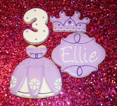 Sophia the First Birthday Cookies! Sugar Cookies, Royal Icing, Decorated Cookies, 3rd Birthday www.Sinful-Decadence.com