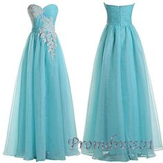Prom dresses long, elegant baby blue chiffon sweetheart dress for prom 2016 #coniefox #2016prom