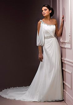 Sheath/column Chiffon One Shoulder Sleeveless Natural Waist Wedding Dress With Beading picture 1
