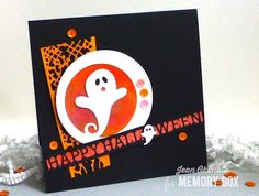 Memory Box Swirly Ghost Circle, Memory Box Happy Halloween Channel,Memory Box Distressed Baptisia Collage, Memory Box Swirling Ghosts, Peerless Watercolors, Imagine Crafts, Jean Okimoto