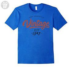 Mens Aged Perfectly Vintage Est 1947 T-shirt 70 Birthday Gift 2XL Royal Blue - Birthday shirts (*Amazon Partner-Link)