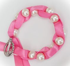 Twisted Ribbon Pearl Bracelet in Hot Pink by SHOPLOVECOCO on Etsy