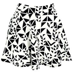 Abstract Triangle Scuba Skater Skirt ($15) ❤ liked on Polyvore featuring skirts, bottoms, saias, faldas, black and white circle skirt, flare skirt, black and white skater skirt, skater skirt and flared skirt