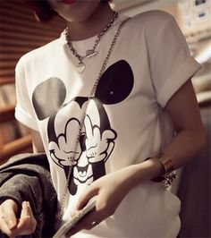 New 2014 Women t-shirts Cotton Cartoon Middle Finger Mickey Mouse O-neck Striped t shirt Fashion Female t-shirt Crop Top.....I want this soooo bad! @skullbaby101 @amandaellison7