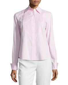 Lafayette 148 New York Nula Long-Sleeve Pleated Blouse, Frosted Rose  New offer @@@ Price :$298 Price Sale $175