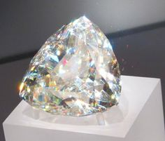 """Light of the Desert"", the world's largest faceted Cerussite gem (898 carats) from Tsumeb, Namibia,"