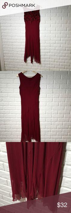 5cb4a86a5e27f4 Jonathan Martin Studio burnout, flows dress. Flattering burgundy dress with  flower burnout pattern at