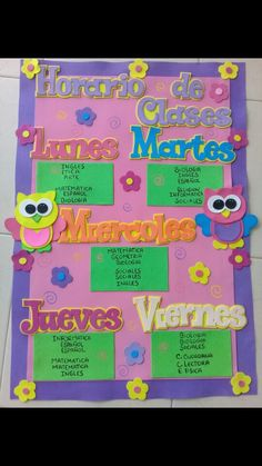 Horario de clases en foami Buhos en foami Craft Stick Crafts, Crafts To Make, Crafts For Kids, Special Education Schedule, Pre K Activities, School Decorations, Learning Spanish, Classroom Decor, Homeschool