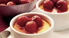These creamy baked custards, delicately flavored with vanilla and accompanied by a fresh cherry compote, are easy to make and sure to be… Diabetic Deserts, Diabetic Recipes, Cooking Recipes, Diabetic Foods, Easy Desserts, Dessert Recipes, Cherry Compote, Diabetic Friendly, Custard