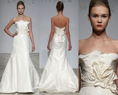 amsale bridal - I love this gown!  classic, nicely fitted, interesting bodice, nice sash detail in back.