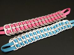 Upcycled, soda pop can tabs bracelets