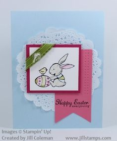 Easter Card using Stampin Up Everybunny Stamp Set and Paper Doilies. Cute!