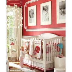Find baby girl nursery ideas and more at Pottery Barn Kids. Prepare for your baby girl and shop our baby girl room inspiration. Red Nursery, Baby Nursery Decor, Nursery Bedding, Nursery Room, Room Baby, Baby Rooms, Nursery Ideas, Girl Rooms, Nursery Inspiration