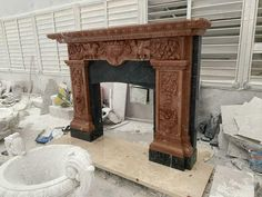 Marble Fireplace Mantel, Marble Fireplaces, Fireplace Mantels, Carving, Beautiful, Home Decor, Pink, Decoration Home, Room Decor