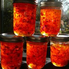Pepper Jelly.  This is the recipe I use, and it's awesome!  Keep the pepper seeds in for a hot jelly, or take them out if you want it sweet.  I like to invert the jars a couple of times after processing to distribute the pepper pieces more evenly.