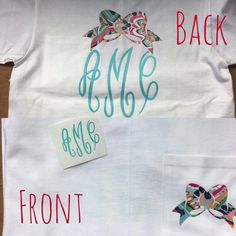 Lilly Inspired Bow Monogram Pocket Tee by BeccasSouthernGrams