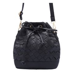 Black Drawstring Weave Shoulder Bag (27 AUD) ❤ liked on Polyvore featuring bags, handbags, shoulder bags, drawstring purse, black shoulder handbags, black handbags, drawstring handbags and black purse