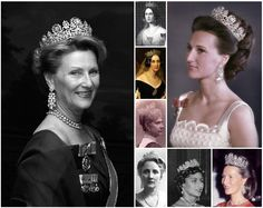 Joséphine of Leuchtenberg Diamond Tiara or The Tiara Desirée, after Desiree Clary, Q of Sweden. A neoclassical tiara with floral garlands and wreaths of laurel. The original owner is believed to be Q Josefina (a gift from her grandmother, Ess Josephine) and might have included pearls that were interchangeable with the sapphires, but only one portrait of Josefina supports that theory. Past down through many scandinavian royals to end up in Norway.