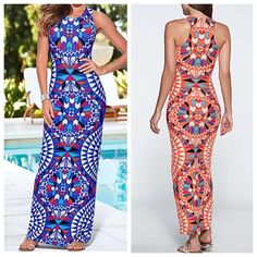 AZTEC DRESS BLUE As shown. Worn once. Like new. Form fitting. Size fits womans 12. Size fits womans large- xtra large. Dresses