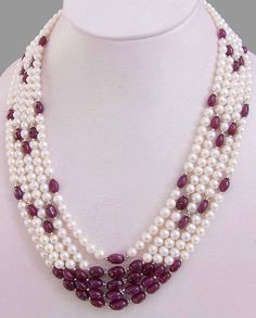 5 Strand Pearl And Ruby Necklace Pearl Necklace Designs, Gemstone Necklace, Pearl Jewelry, Beaded Necklace, Ruby Necklace, Indian Jewelry Sets, Unique Jewelry, Layered Necklaces Silver, Beaded Jewelry Patterns