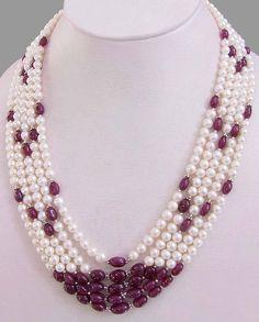 Elegant Five Row 4mm-5mm Pearl Necklace With #jewelry #necklace @EtsyMktgTool #beadswholesale #rubynecklace #beadedjewelery #rubyjewelery