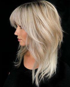 Medium Shag Haircuts, Hairstyles Medium Lengths, Medium Length Blonde Hairstyles, Haircuts For Medium Length Hair Layered, Blond Medium Length Hair, Long Hairstyles With Bangs, Inverted Hairstyles, Full Fringe Hairstyles, Shaggy Haircuts