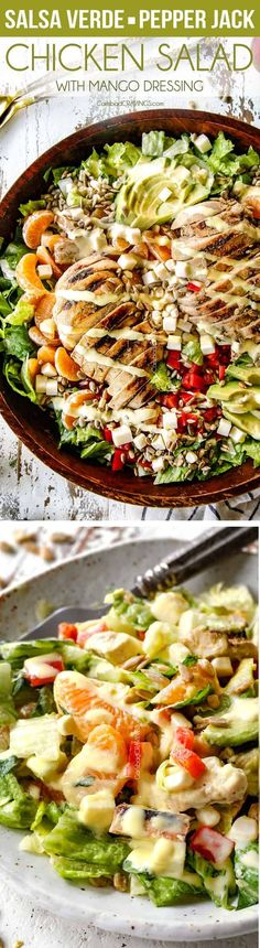 Salsa Verde Chicken Salad with Mango Dressing – I CRAVE this easy, healthy, salad its so good! The juicy salsa verde chicken is only 3 ingredients and SO flavorful and the mango dressing is amazing! I also love the addition of clementines, Pepper Jack an Main Dish Salads, Dinner Salads, Salsa Verde, Best Salad Recipes, Healthy Recipes, Easy Recipes, Salmon Recipes, Chicken Recipes, Healthy Salads