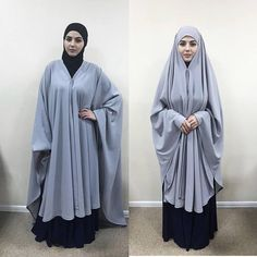 Chic gray long khimar, which optionally can be transformed into a Cape. It is a Muslim kimonos of crepe chiffon on the front and fastens at the wrist cuffs, fastened at the top like a bandana. Stylish apparel for those who want to be beautiful and covered. This chic hijab will quickly become your favorite thing in the wardrobe. This handy headdress like those who do not yet know how to wind a scarf, busy mums and female students. It is simple and concise, suitable for study, work and walks… Muslim Dress, Hijab Dress, Hijab Outfit, Modest Dresses, Modest Outfits, Stylish Outfits, Niqab Fashion, Muslim Fashion, Hijab Chic