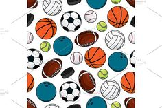 Team games seamless pattern Graphics Team games sporting seamless pattern of ice hockey pucks with balls for soccer and american football by Vector Tradition SM
