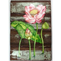 Beautiful Lotus Painting on Antique Thai House Wall Wood Lotus Painting, Thai House, Thai Art, Wall Wood, House Wall, New Home Designs, Frame It, Amazing Art, Wood Crafts