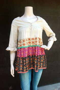 Boho Blouse, Junk Gypsy Style by RevivaL EcoFriendly Clothing