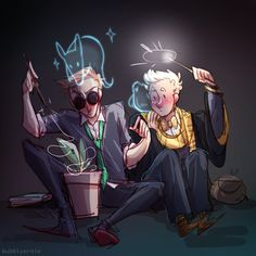 A young Crowley and Aziraphale at Hogwarts is my new aesthetic art tag // commission info Hogwarts, Slytherin Harry Potter, Harry Potter Movies, Harry Potter Crossover, Fandom Crossover, Good Omens Book, Potter Facts, Cartoon Crossovers, Angels And Demons