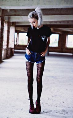 """Floral Print Tights, T.U.K. Ruby Red Creepery, """"In The Midst Of Winter"""" Shirt, Levi's DIY Cutoff Shorts, Choker"""