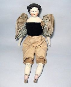Antique-12-034-Victorian-1860-German-China-Head-Doll-High-Brow-Flat-Top-Cloth-Body