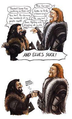 Ulfric Stormcloak (Skyrim) meets Thorin (The Hobbit) -- not even part of both fandoms, still funny Christoper Lee, Skyrim Funny, Skyrim Comic, Scrolls Game, Chibi, Elder Scrolls Skyrim, J. R. R. Tolkien, Thorin Oakenshield, Bilbo Baggins