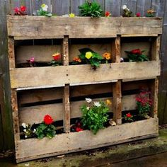 Get inspired with our Container Gardening Ideas for small containers, urns and many more. Create features in your outdoor spaces. Pallet Flower Box, Wooden Flower Boxes, Fresh Flowers, Beautiful Flowers, 1001 Palettes, Wooden Planters, Pallet Planters, Pallet Creations, Garden Inspiration