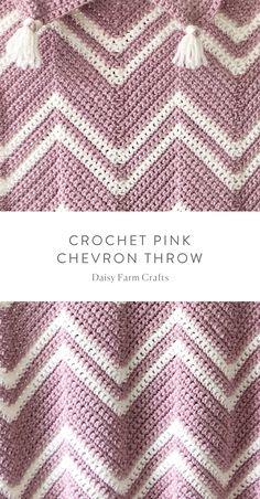 Crochet Pattern For Beginners Free Pattern - Crochet Pink Chevron Throw Chevron Crochet Patterns, Zig Zag Crochet, Crochet Ripple Afghan, Crochet Throw Pattern, Manta Crochet, Baby Blanket Crochet, Diy Crochet, Crochet Baby, Crochet Blankets
