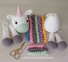 The Crochet Unicorn Amigurumi project here we will be showing you is really cute, and is the dream of basically every young girl. Crochet Unicorn Pattern, Crochet Octopus, Crochet Patterns Amigurumi, Crochet Dolls, Amigurumi Tutorial, Crochet Diy, Crochet Gifts, Unicorn Doll, Crochet Rabbit