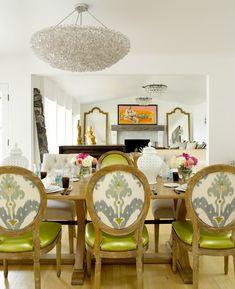 Suzie: Graciela Rutkowski Interiors - Chic dining room with X base dining table, ikat oval back ...