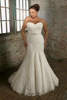 Plus Size Marmaid White Lace Wedding Dress