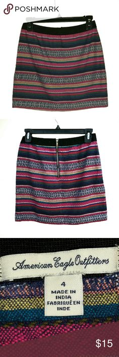 American Eagle Outfitters  Mini Skirt Mini skirt w/black elastic waist band & exposed brass color back zipper. 100% cotton.  Great condition. American Eagle Outfitters Skirts Mini