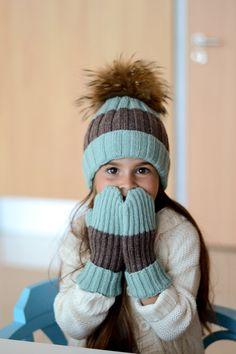 Mint knit pom pom hat, Toddler girls knitting beanie, Fur pom pom child hat