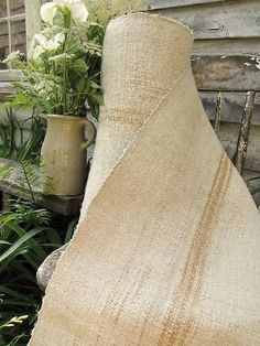 Wonderful heavy weight antique hemp organic stair runner fabric ~ lovely rare toned stripe ~ from The Textile Trunk ~ #home #decor