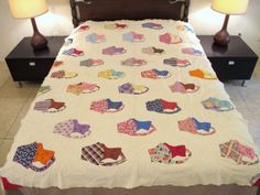 Vintage-CATS-Kittens-IN-BASKETS-Feed-Sack-Cotton-Hand-Sewn-Applique-Quilt-TOP