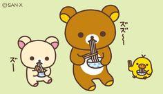 Rilakkuma noodles ( ̄∇ ̄) Sanrio Characters, Disney Characters, Fictional Characters, Rilakkuma Wallpaper, Japon Tokyo, Line Friends, Cute Bears, Cute Images, Kawaii Cute